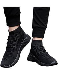 Zapatilla de Deporte para Hombres, Hombre de Moda High Help Soft Sole Zapatillas de Running Zapatos de Gimnasia Calcetines Zapatos…