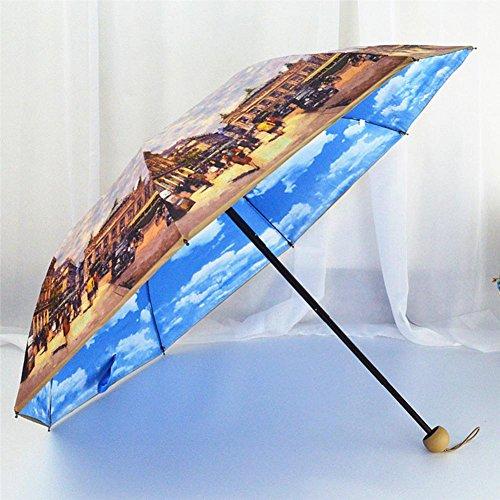 JAYLONG Paraguas de viaje 8 costillas de pintura de doble capa Walk Sturdy construcción de acero inoxidable portátil Paraguas plegable de secado rápido impermeable para mujeres, hombres, niños y niños , B