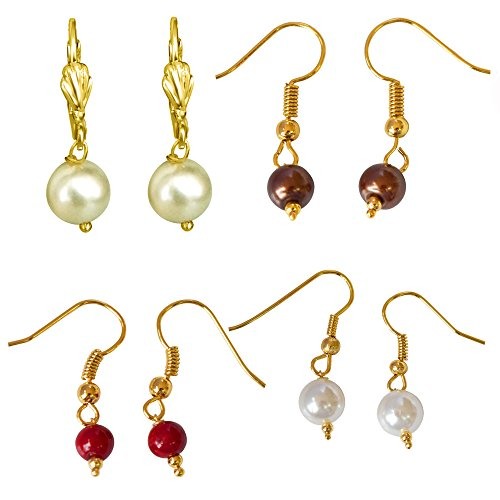 Surat Diamonds Set of 4 Colored Shell Pearl & Gold Plated Wire Dangle & Drop Earrings For Women (H1871)  available at amazon for Rs.109