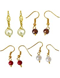 Surat Diamonds Set Of 4 Colored Shell Pearl & Gold Plated Wire Dangle & Drop Earrings For Women (H1871)