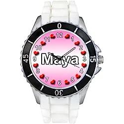 Name Maya White Jelly Silicone Band Ladies Sports Wrist Watch
