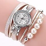 LSAltd Damen Art und Weisediamant-Verpackung Um Uhr Lederoid Quarz Armbanduhr (A)