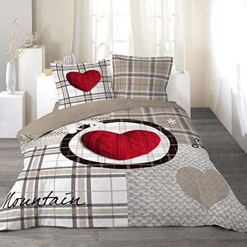 Douceur D'Intérieur 1640829 - Copripiumino Matrimoniale 240 X 220 cm e 2 Federe 63 x 63 cm, Love Mountain, Reversibile, 100% Cotone
