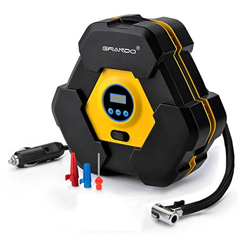 Preisvergleich Produktbild Kompressor,GRANDO 12V Digitaler Manometer,Luftkompressor Reifen Aufblasgerät und Tragbare Auto Reifenpumpe mit LED-Licht