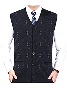 Zhhlinyuan alta calidad Mens Men's Father V-neck Business Winter Rhombus Pattern Sleeveless Pullover Knitted Jumper...