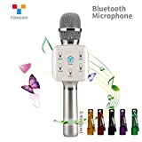 TOSING Q7S Wireless Karaoke Microphone Bluetooth Speaker 2-in-1 Handheld Sing & Recording Portable KTV Player Mini Home KTV Music Machine System for iPhone/Android Smartphone/Tablet Compatible (Silber)