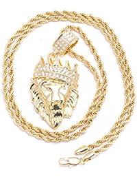 Colgante para hombre chapado en oro, diseño de cabeza de rey león, repleto de cristales con corte diamante, incluye cadena