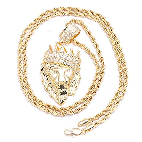 Herren New King Lion Head Iced Out Anhänger Diamond Cut Seil vergoldet Kette Halskette