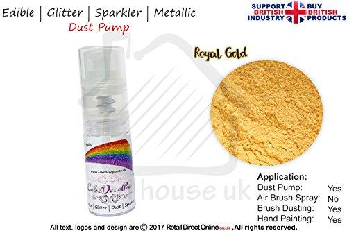 Staub Pumpe Glitzer Wunderkerze | 100% Essbar | Royal Gold | Metallic | 7Gramm | Kostenlose...