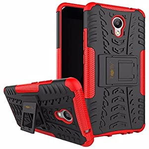 Heartly Meizu M5 Note Back Cover Kick Stand Rugged Shockproof Tough Hybrid Armor Dual Layer Bumper Case - Hot Red