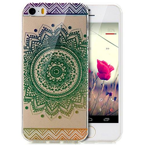 iPhone 5S Hülle,iPhone SE Hülle,iPhone 5 Hülle,iPhone SE 5S 5 Schutzhülle Case,ikasus® TPU Silikon Schutzhülle Case Hülle für iPhone SE 5S 5,Durchsichtig mit Indische Sonne Schmetterling Blumen Muster Farbverlauf Mandala Blumen #5