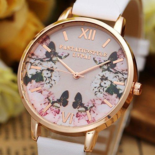 JSDDE Uhren,2er Set Modische Schmetterling Blumen Armbanduhr Basel-Stil Damen Uhr PU Lederband Rosegold Analog Quarzuhr - 2