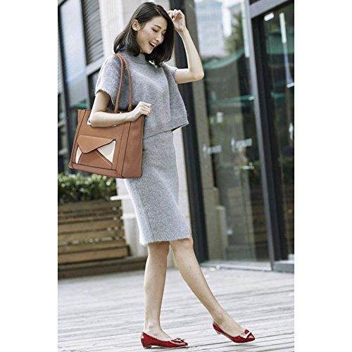 LeahWard® Große Größe Damen nett Essener Schultertaschen Damen Qualität Tragetasche Handtaschen 454 Vorderseite Tasche Taschen-nackt/Rosa