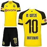 Puma BVB Borussia Dortmund Fußball Set Home Heimset 2018 2019 Kinder Mario Götze 10 Gr 152