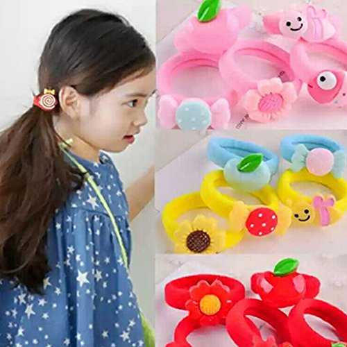 Gemini_mall® 6pcs Girl's Hair Bobbles Bands Mini Cartoon Ponytail Elastic Stretchy Hairband - Random Colour and Pattern