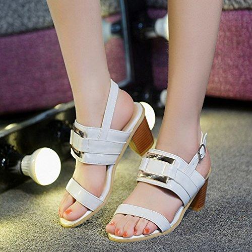 TAOFFEN Femmes Bout Ouvert Sandales Bloc Talons Moyen Slingback Chaussures De Boucle Blanc