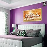 #8: AH Decals Wall Art Inpirational Vastu 7 Lucky Horses Running Canvas Painting for Office Living Bed Room (Size - 70 cm X 40 cm)