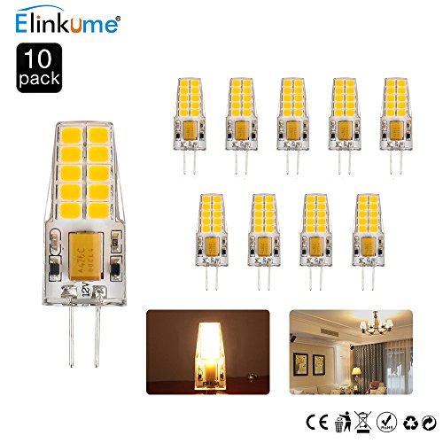 ELINKUME 10X G4 LED 4W Leuchtmittel 12V Warmweiß, AC/DC 12V LED Glühlampen 3200K, 285LM, Ersetzt 30W Halogenlampe