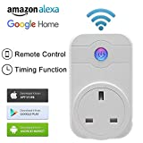 Wi-Fi Smart Plug, TOP-MAX Wireless Smart Switch Socket, Works with Amazon Alexa Echo Google Home, Wireless Smart Home Remote Switch with Timing Function for Apple iPhone and Android Devices (1 Pack)