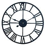 HYZH 15.7 Zoll/40CM Römische Zahlen Metallrahmen Lautlos Vintage Wanduhr Uhr Ohne Tickgeräusche-Schwarz