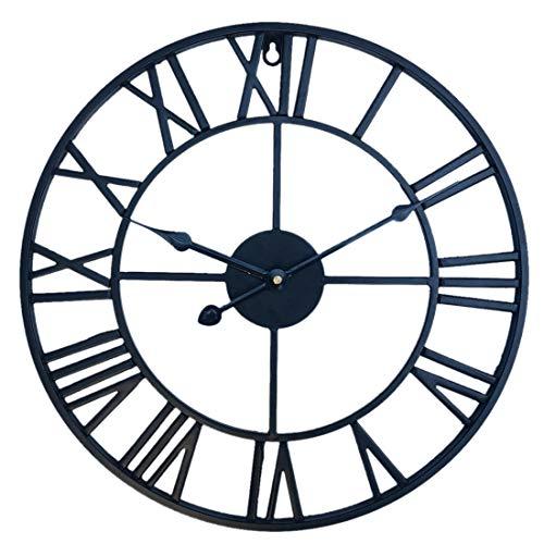 Searchyou - Wanduhr Vintage, 40CM/16Zoll XL Groß Lautlos Wanduhr Retro Metall Ohne Tickgeräusche Römische Zahlen Uhr für Schlafzimmer, Wohnzimmer, küchenuhren, Büro, Studium, Café, Hotel - (Schwarz)