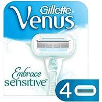 Gillette - Venus Embrace Sensitive - Afeitar con 5 palas para mujeres - 4 piezas