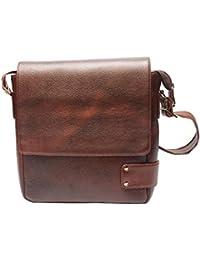 Poshaque Stylish Genuine Leather Sling Bag (Brown)