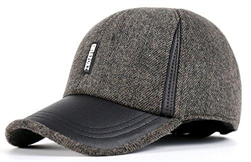 Roffatide Wolle Fleece Baseballmütze mit Ohrenklappe Einstellbar Schirmmütze Kappe Außen Winter Hellbraun (Low-profile-athletic Cap Mesh)