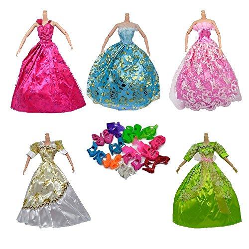 ASIV 5 pz Abito + 12 paia Scarpe Fatto a mano Moda Abiti da Sposa Partito Abito da Sposa e Vestiti per Barbie Doll Regalo di Natale