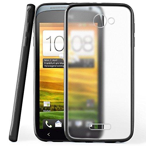 moex HTC One X/One X Plus | Hülle Slim Transparent Schwarz Impact Back-Cover Dünn Schutzhülle Silikon Handy-Hülle für HTC One X/One X+ Case TPU Tasche Matt