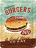 Cartel de chapa Vintage - Burgers - varios tamaños - pequeño