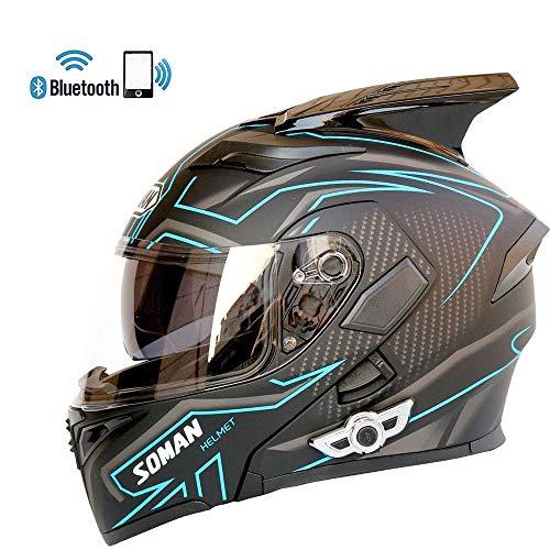 NMBE-helmet Modularer Motorradhelm Motorrad Bluetooth Headset Stereo-Qualität Helm mit Linsen Anti-Fog Modulare Flip Up Bluetooth-Helme,Blue,L