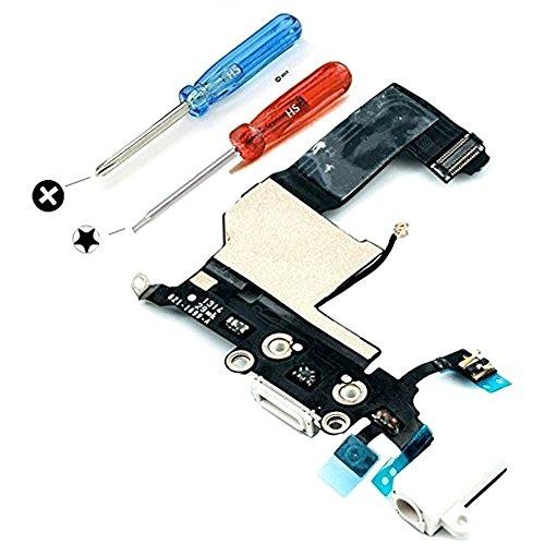 MMOBIEL Dock Connector für iPhone 5 (Weiss) USB Ladebuchse Flex Mikrofon Homebutton Lautsprecher und Audio Jack Kopfhörer Anschluss vormontiert mit selbstklebender Unterseite inkl 2 x Schraubenzieher