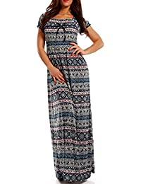Damen Maxikleid Kleid Bohemian Style mit Carmen-Ausschnitt