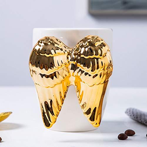 Erjialiu Kaffeetasse Engelsflügel Kaffeetasse Gold Becher Tee Milch Tassen Porzellan Becher Große 3D Emaille Reisebecher Persönliche Büro Tasse 350 Ml,Gold