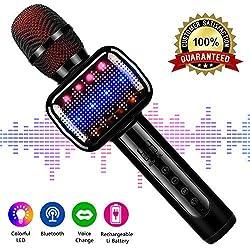 Microfono karaoke, Microphone de karaoké sans fil Bluetooth pour enfants Machine de poche karaoké portable avec haut-parleur pour adulte. KTV extérieur.