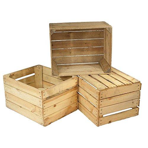 3er Set alte Holzkisten - gebrauchte Obstkisten, Weinkisten - Used Look - Für Dekoration,...