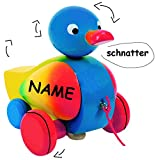 alles-meine.de GmbH Ziehtier -  lustige Ente in bunt  - incl. Name - aus Holz / Wackeltier - Flügel & Kopf wackelt - flüsterleise - mit Schnur - Ziehfigur als Nachziehtier - Ti..