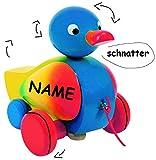 alles-meine.de GmbH Ziehtier -  lustige Ente in Bunt  - Incl. Name - aus Holz / Wackeltier - Flü..
