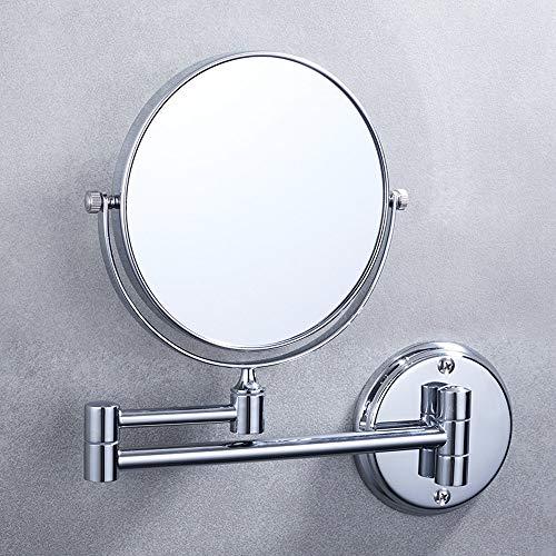 Ghelf Badezimmerspiegel, zusammenklappbar, Wandmontage, Teleskopspiegel, Wandmontage, Hotel-Badezimmerspiegel, Feinkupferspiegel, Korrosionsschutz, rostfreier Badezimmer-Klappspiegel 6 inches