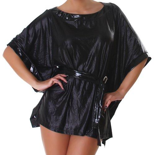 Shirt pipistrello tunica bagnato One Size 8,10,12,14 -Nero