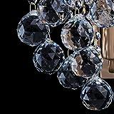 Kleine schicke Wandleuchte 1-flammig barock modern bronzefarbiges Metall Kristallkugeln klar indirektes sanftes Licht für Wohnzimmer Schlafzimmer Diele Flur Halle Restaurant exkl.1*60W E14 -