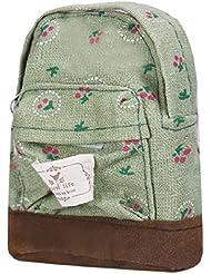 Tongshi Mini lona florales Mochila Mujeres Niñas Niños barato bolsa de la moneda (Verde)