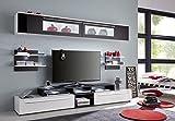 trendteam TP00102 TV Möbel Wohnwand Weiss, Schwarz, Glas Schwarz Lack, BxHxT 240 x 170 x 42 cm - 5
