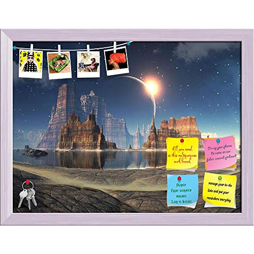 Artzfolio Solar Eclipse Over Alien Lake Landscape Printed Bulletin Board Notice Pin Board | White Frame 21 X 16Inch Eclipse 16 Pin