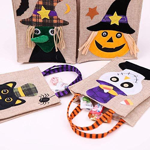 deln Halloween Tote Tasche Halloween Baskets Leinen Partygeschenk Wiederverwendbare Süßigkeiten-Tasche Cartoon Kürbis Hexe Ghost Party Liefert Dekorationen 4 Pack ()