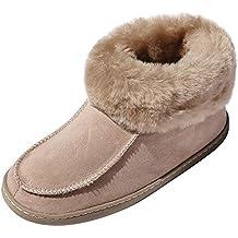 Damen Hausschuhe Lammfell Pantoffeln Hüttenschuhe Winter Warm Ledersohle NEU