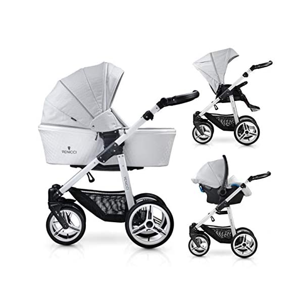 Venicci Pure 3-in-1 Travel System - Stone Grey - with Carrycot + Car Seat + Changing Bag + Apron + Raincover + Mosquito Net + 5-Point Harness and UV 50+ Fabric + Car Seat Adapters + Cup Holder  3 in 1 Travel System with included Group 0+ Car Seat Suitable for your baby from birth until 36 months 5-point harness to enhance the safety of your child 1