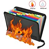 Feuerfeste Dokumententasche - ABClife Expanding File Folder Tragbare feuerfeste Accordion Document Organizer Datei A4 mit feuerfesten Reißverschluss für Vertrag Pässe,Wertsachen,Batterien (Bunt)