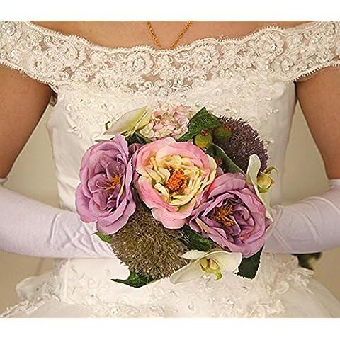 XYXY Ramo de weddingbride Rose Hydrangea artificial paquete de 2 . purple